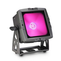 Cameo FLAT PRO FLOOD IP65 TRI Outdoor Flood Light with 60 Watt Tri-Color COB LED in black housing