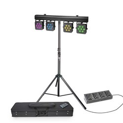 Cameo Multi PAR 3 SET Set with 28 x 8 W QUAD Colour LED Lighting Set with Transport Case, 4 pedal Foot Switch and Stand