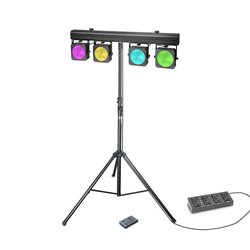 Cameo Multi PAR COB 1 SET Set with 4 x 30 W RGB COB LED Lighting Set with Transport Case, 4 pedal Foot Switch and Stand