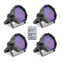 Cameo FLAT PAR CAN RGB 10 IR SET Set of 4 PAR Spots 144 x 10 mm  FLAT LED RGB in black housing incl. Infrared remote
