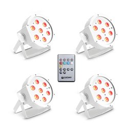 Cameo FLAT PAR CAN TRI 3W IR WH SET Set of 4 PAR lights 7 x 3 W High Power TRI colour FLAT LED RGB in white housing incl. Infrar