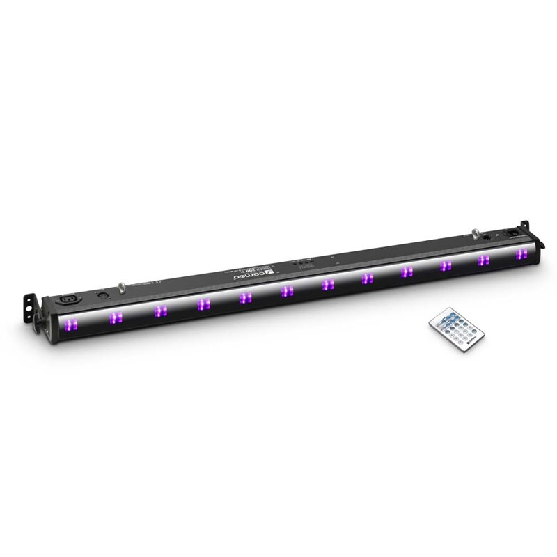 Cameo UVBAR 200 IR 12 x 3 W UV LED Bar in black housing with IR Remote Control