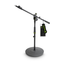 Gravity MS 2222 B Short Microphone Stand with Round Base and 2-Point Adjustment Telescoping Boom
